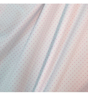 PIQUE pois rosa fondo bianco